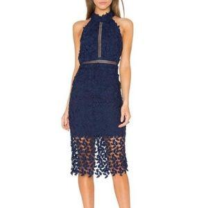 NWT Bardot Lace Illusion Halter Dress  - Navy Blue